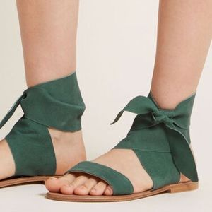 {Seychelles} suede tan lace up flat sandals